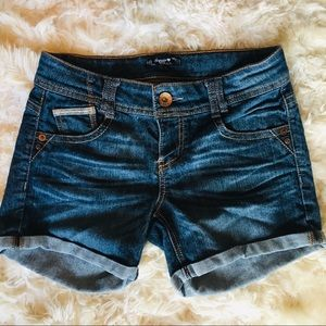 Sequin Hearts Distressed Jean Shorts